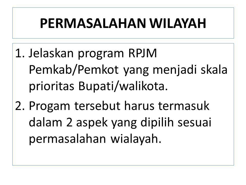 PERMASALAHAN WILAYAH 1.Jelaskan program RPJM Pemkab/Pemkot yang menjadi skala prioritas Bupati/walikota. 2.Progam tersebut harus termasuk dalam 2 aspe