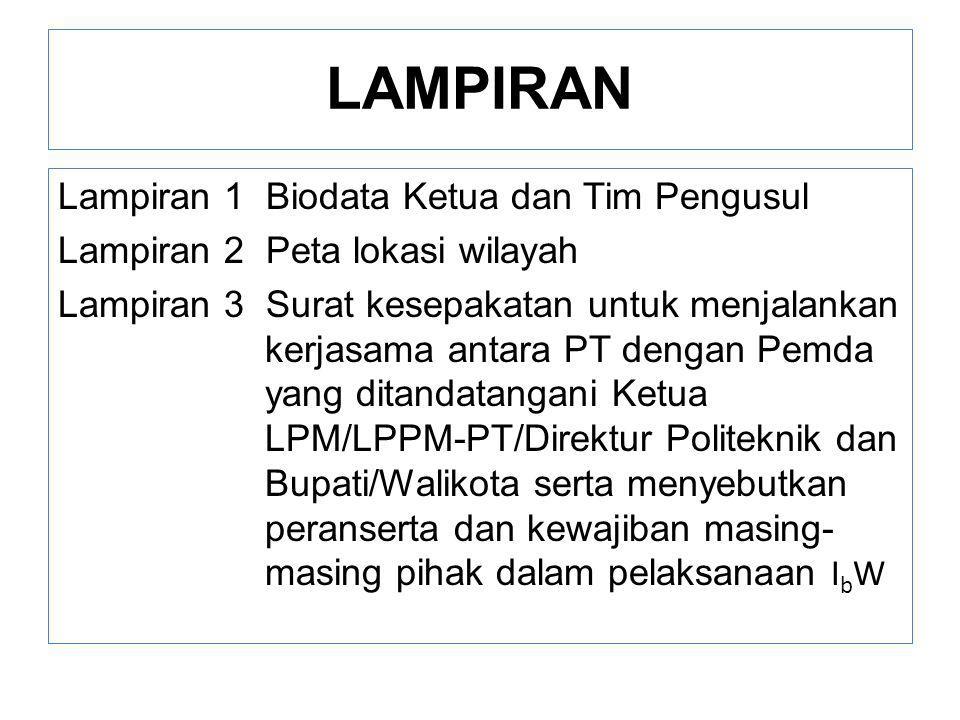 LAMPIRAN Lampiran 1 Biodata Ketua dan Tim Pengusul Lampiran 2 Peta lokasi wilayah Lampiran 3 Surat kesepakatan untuk menjalankan kerjasama antara PT d