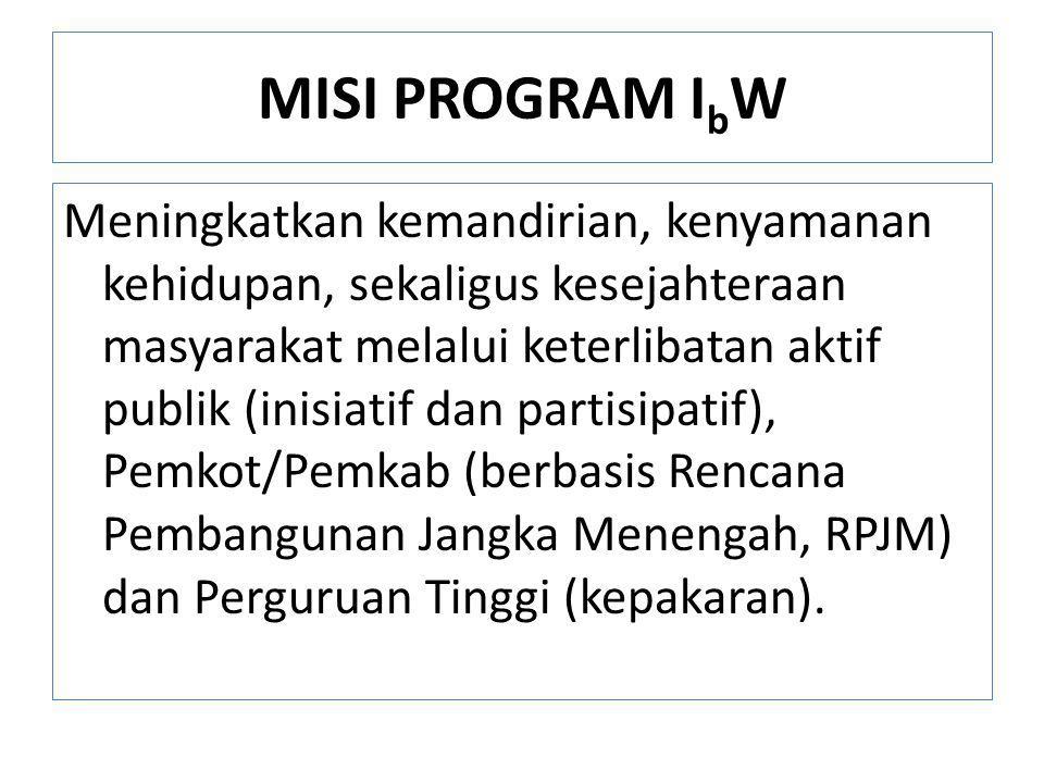 MISI PROGRAM I b W Meningkatkan kemandirian, kenyamanan kehidupan, sekaligus kesejahteraan masyarakat melalui keterlibatan aktif publik (inisiatif dan