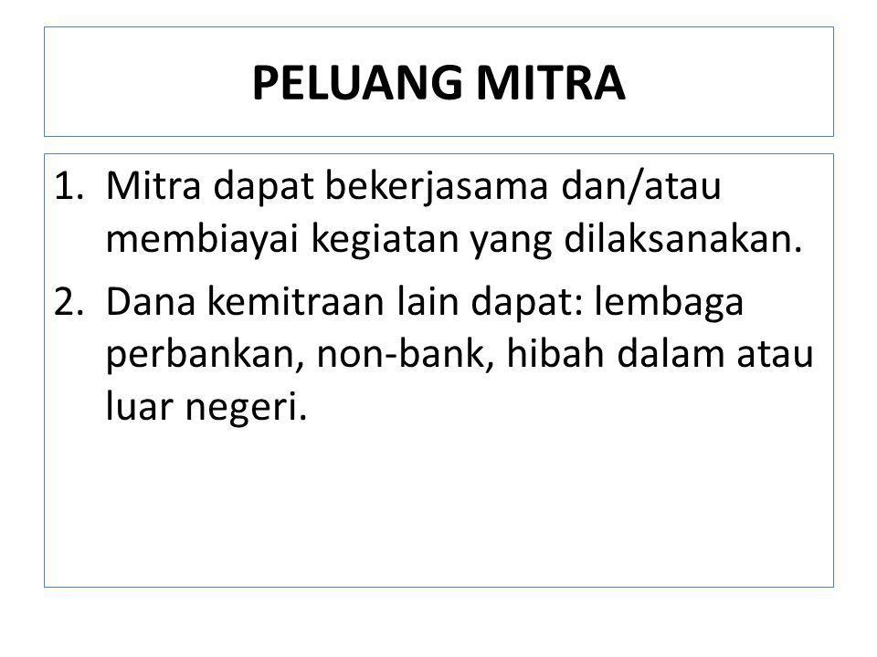 PELUANG MITRA 1.Mitra dapat bekerjasama dan/atau membiayai kegiatan yang dilaksanakan. 2.Dana kemitraan lain dapat: lembaga perbankan, non-bank, hibah