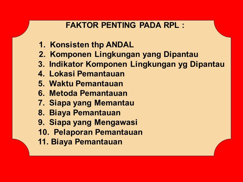 FAKTOR PENTING PADA RPL : 1. Konsisten thp ANDAL 2. Komponen Lingkungan yang Dipantau 3. Indikator Komponen Lingkungan yg Dipantau 4. Lokasi Pemantaua