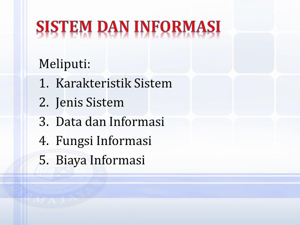 Meliputi: 1.Karakteristik Sistem 2.Jenis Sistem 3.Data dan Informasi 4.Fungsi Informasi 5.Biaya Informasi