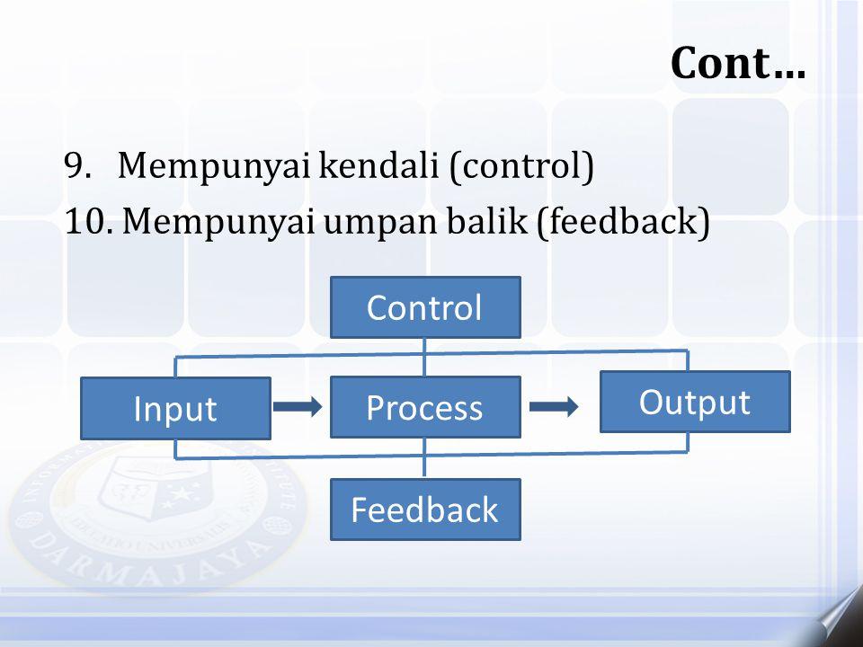 9. Mempunyai kendali (control) 10. Mempunyai umpan balik (feedback) Cont… Input Output Feedback Control Process