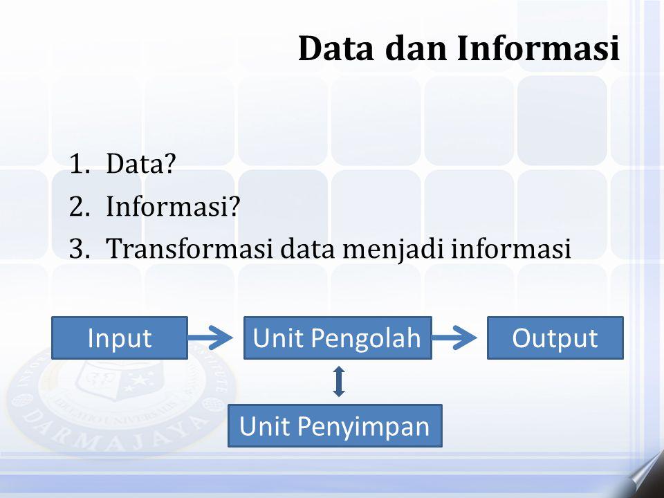 1.Data? 2.Informasi? 3.Transformasi data menjadi informasi Data dan Informasi Input Unit Penyimpan Unit PengolahOutput