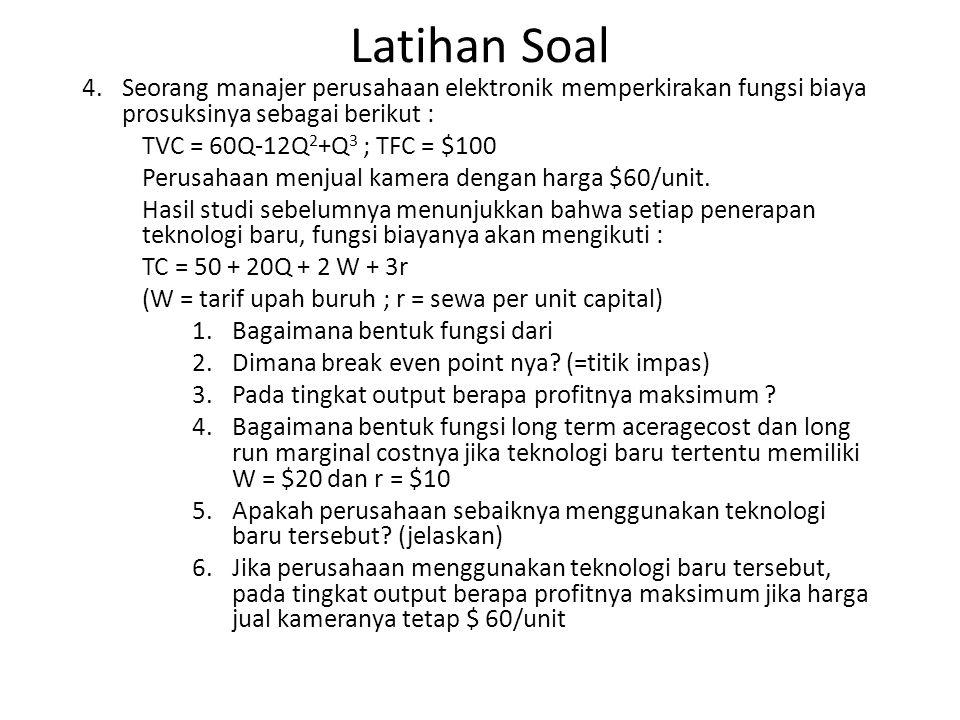 Latihan Soal 4.Seorang manajer perusahaan elektronik memperkirakan fungsi biaya prosuksinya sebagai berikut : TVC = 60Q-12Q 2 +Q 3 ; TFC = $100 Perusa