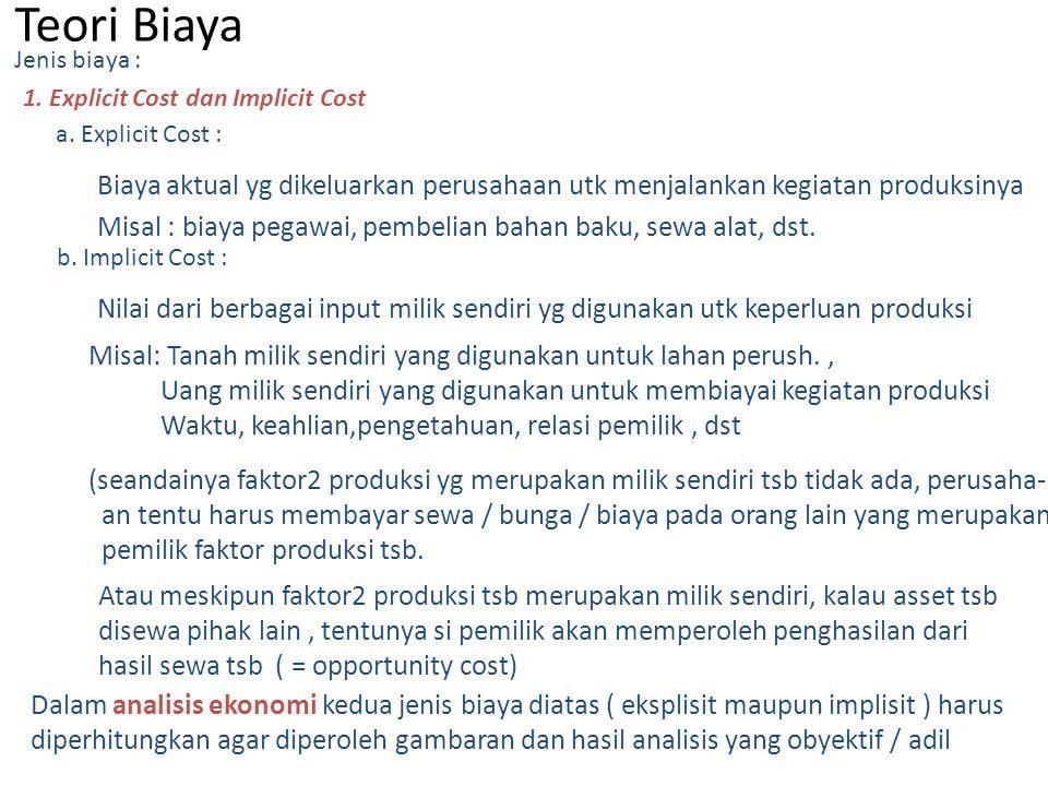 Dalam analisis ekonomi kedua jenis biaya diatas ( eksplisit maupun implisit ) harus diperhitungkan agar diperoleh gambaran dan hasil analisis yang oby