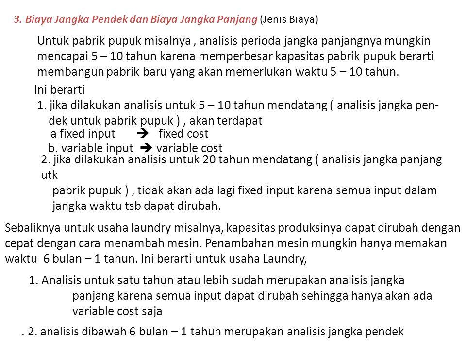 . 2. analisis dibawah 6 bulan – 1 tahun merupakan analisis jangka pendek 3. Biaya Jangka Pendek dan Biaya Jangka Panjang (Jenis Biaya) Untuk pabrik pu