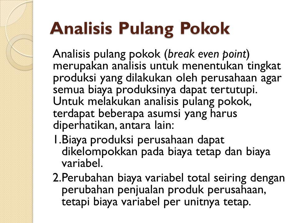 Analisis Pulang Pokok Analisis pulang pokok (break even point) merupakan analisis untuk menentukan tingkat produksi yang dilakukan oleh perusahaan agar semua biaya produksinya dapat tertutupi.