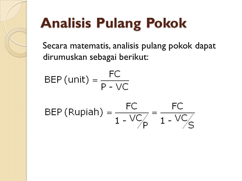 Analisis Pulang Pokok Secara matematis, analisis pulang pokok dapat dirumuskan sebagai berikut: