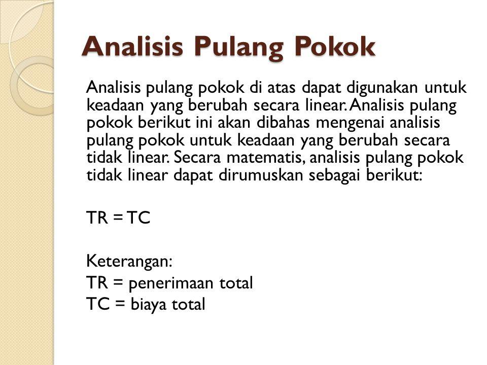 Analisis Pulang Pokok Analisis pulang pokok di atas dapat digunakan untuk keadaan yang berubah secara linear.