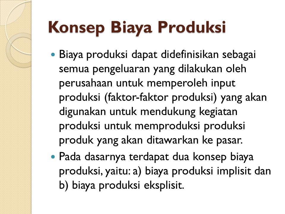 Konsep Biaya Produksi Biaya produksi dapat didefinisikan sebagai semua pengeluaran yang dilakukan oleh perusahaan untuk memperoleh input produksi (faktor-faktor produksi) yang akan digunakan untuk mendukung kegiatan produksi untuk memproduksi produksi produk yang akan ditawarkan ke pasar.