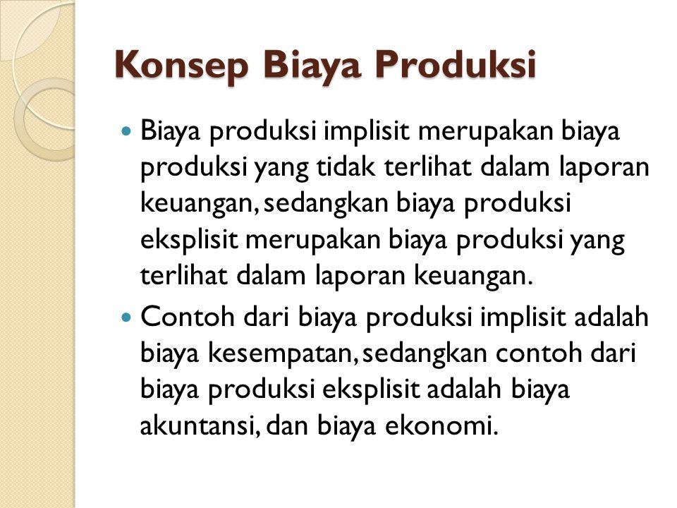 Konsep Biaya Produksi Biaya produksi implisit merupakan biaya produksi yang tidak terlihat dalam laporan keuangan, sedangkan biaya produksi eksplisit merupakan biaya produksi yang terlihat dalam laporan keuangan.
