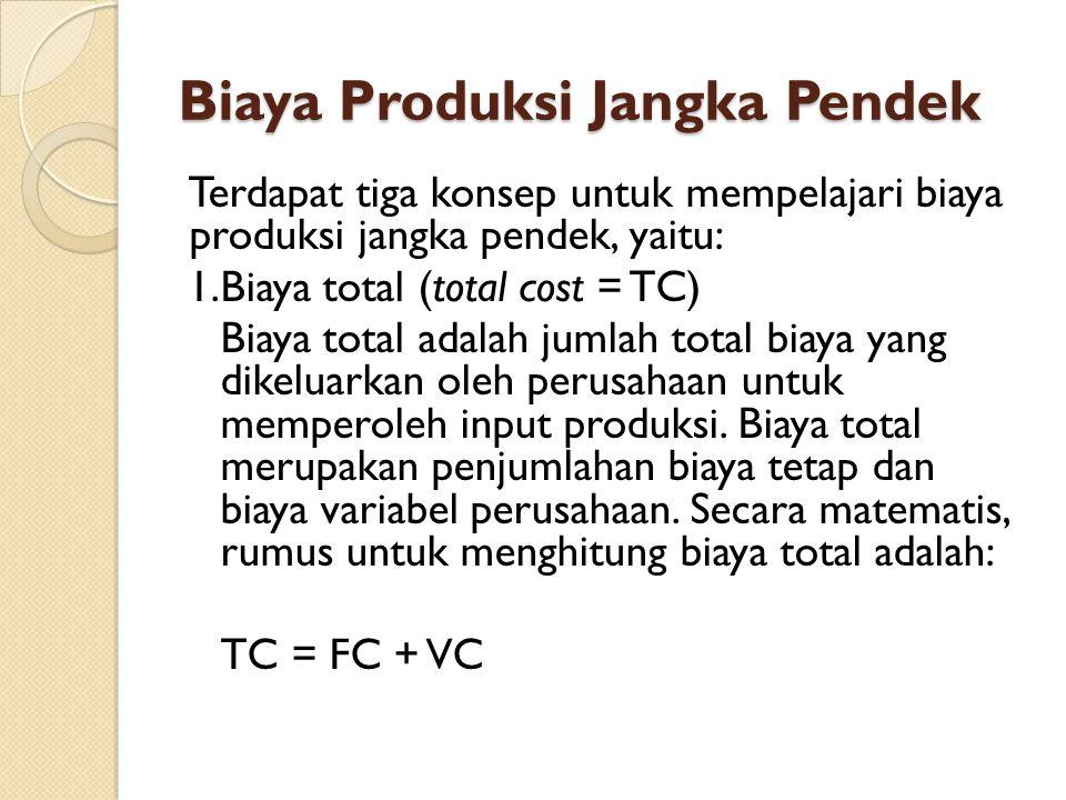 Biaya Produksi Jangka Pendek Terdapat tiga konsep untuk mempelajari biaya produksi jangka pendek, yaitu: 1.Biaya total (total cost = TC) Biaya total adalah jumlah total biaya yang dikeluarkan oleh perusahaan untuk memperoleh input produksi.