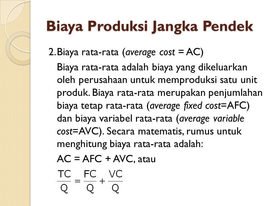 Biaya Produksi Jangka Pendek 2.Biaya rata-rata (average cost = AC) Biaya rata-rata adalah biaya yang dikeluarkan oleh perusahaan untuk memproduksi satu unit produk.