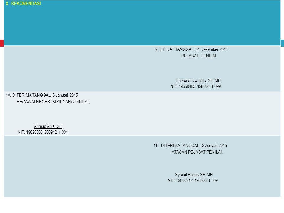 8. REKOMENDASI 9. DIBUAT TANGGAL, 31 Desember 2014 PEJABAT PENILAI, Haryono Dwianto, SH,MH NIP. 19650405 198804 1 099 10. DITERIMA TANGGAL, 5 Januari