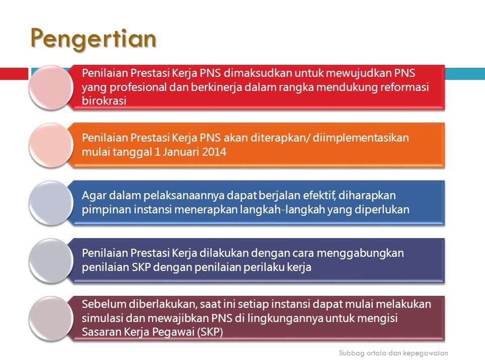 Pengertian Penilaian Prestasi Kerja PNS dimaksudkan untuk mewujudkan PNS yang profesional dan berkinerja dalam rangka mendukung reformasi birokrasi Pe