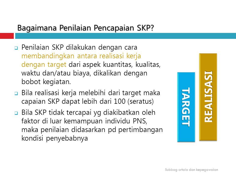 Bagaimana Penilaian Pencapaian SKP?  Penilaian SKP dilakukan dengan cara membandingkan antara realisasi kerja dengan target dari aspek kuantitas, kua