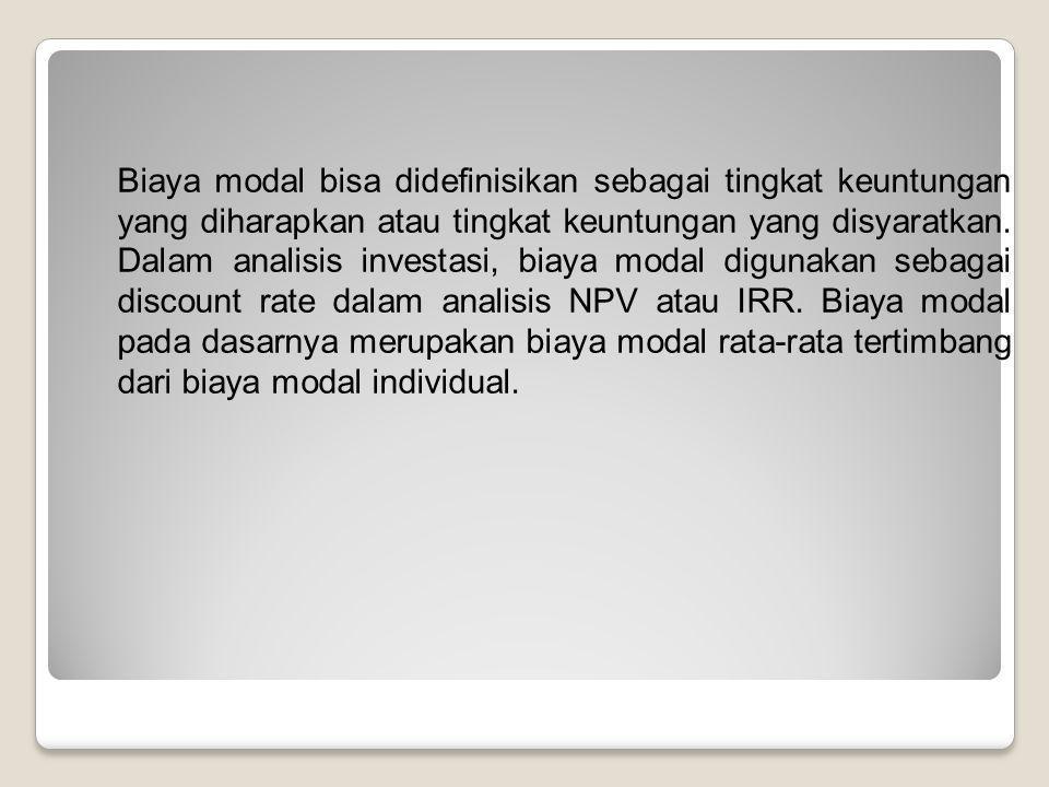 Biaya modal bisa didefinisikan sebagai tingkat keuntungan yang diharapkan atau tingkat keuntungan yang disyaratkan. Dalam analisis investasi, biaya mo