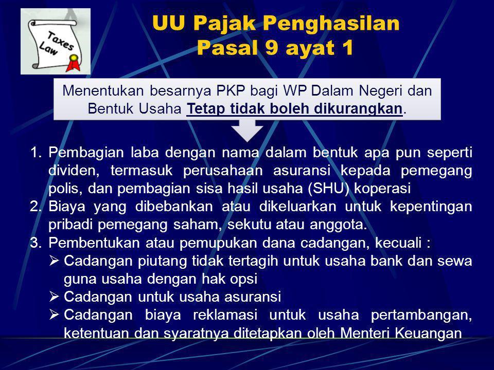 UU Pajak Penghasilan Pasal 9 ayat 1 Menentukan besarnya PKP bagi WP Dalam Negeri dan Bentuk Usaha Tetap tidak boleh dikurangkan.