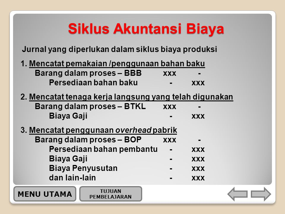 Siklus Akuntansi Biaya MENU UTAMA 1.