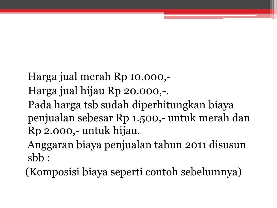 Harga jual merah Rp 10.000,- Harga jual hijau Rp 20.000,-. Pada harga tsb sudah diperhitungkan biaya penjualan sebesar Rp 1.500,- untuk merah dan Rp 2