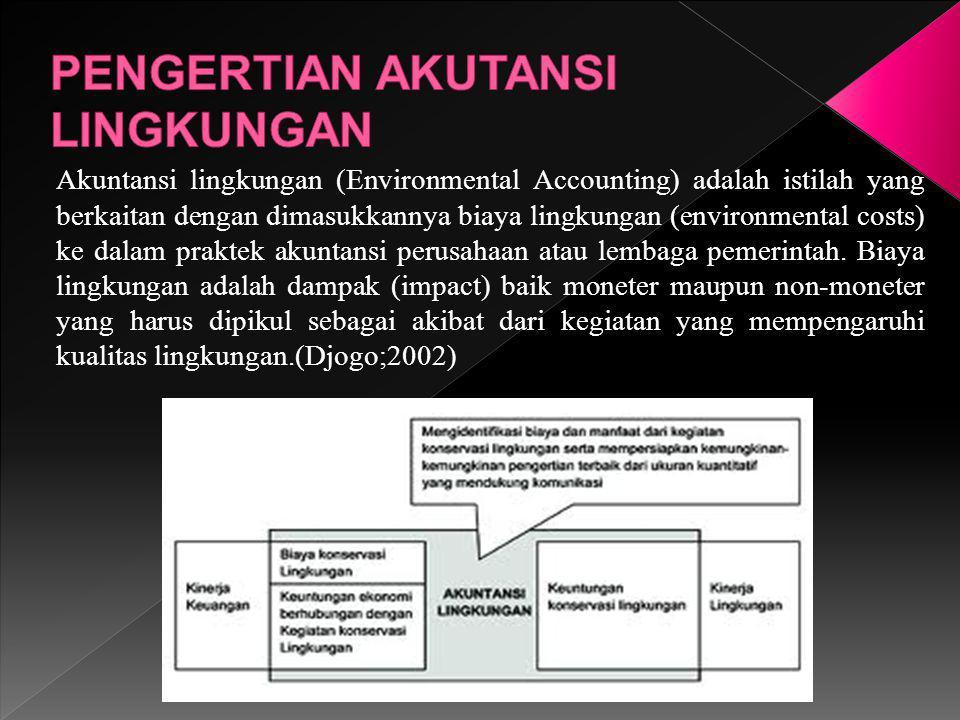 Akuntansi lingkungan (Environmental Accounting) adalah istilah yang berkaitan dengan dimasukkannya biaya lingkungan (environmental costs) ke dalam pra