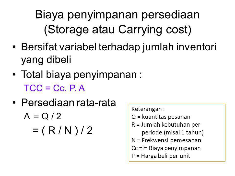 Biaya penyimpanan persediaan (Storage atau Carrying cost) Bersifat variabel terhadap jumlah inventori yang dibeli Total biaya penyimpanan : TCC = Cc.