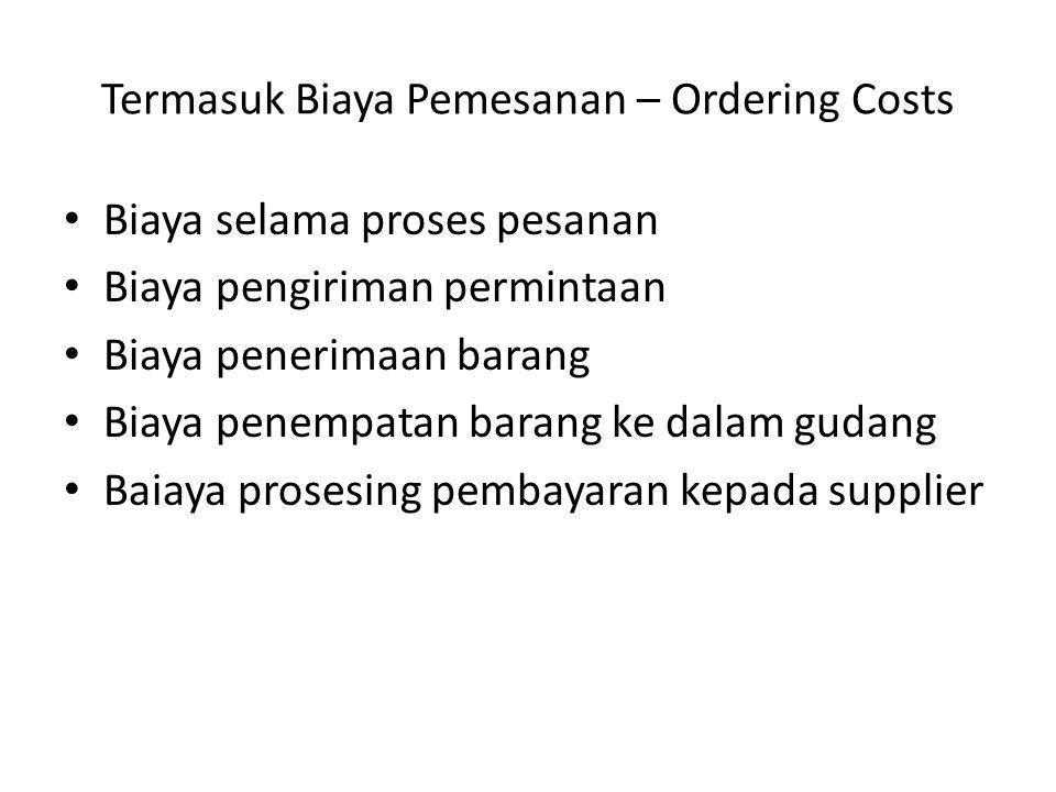Termasuk Biaya Pemesanan – Ordering Costs Biaya selama proses pesanan Biaya pengiriman permintaan Biaya penerimaan barang Biaya penempatan barang ke d