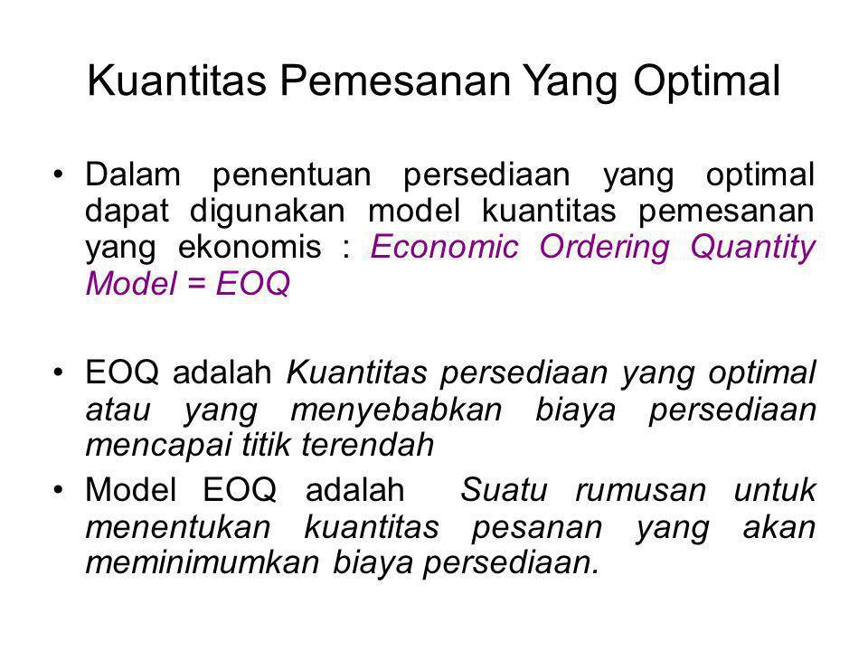 Kuantitas Pemesanan Yang Optimal Dalam penentuan persediaan yang optimal dapat digunakan model kuantitas pemesanan yang ekonomis : Economic Ordering Q