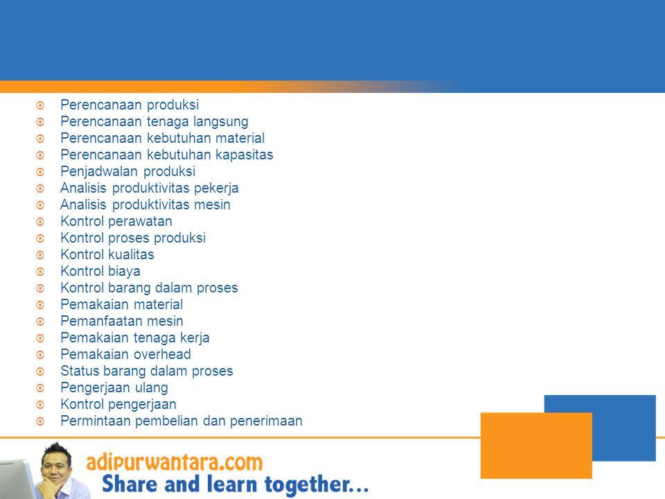  Perencanaan produksi  Perencanaan tenaga langsung  Perencanaan kebutuhan material  Perencanaan kebutuhan kapasitas  Penjadwalan produksi  Analisis produktivitas pekerja  Analisis produktivitas mesin  Kontrol perawatan  Kontrol proses produksi  Kontrol kualitas  Kontrol biaya  Kontrol barang dalam proses  Pemakaian material  Pemanfaatan mesin  Pemakaian tenaga kerja  Pemakaian overhead  Status barang dalam proses  Pengerjaan ulang  Kontrol pengerjaan  Permintaan pembelian dan penerimaan
