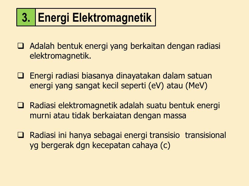  Adalah bentuk energi yang berkaitan dengan radiasi elektromagnetik.  Energi radiasi biasanya dinayatakan dalam satuan energi yang sangat kecil sepe