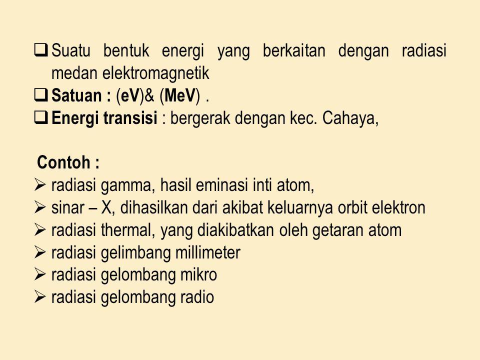  Suatu bentuk energi yang berkaitan dengan radiasi medan elektromagnetik  Satuan : ( eV )& ( MeV ).  Energi transisi : bergerak dengan kec. Cahaya,