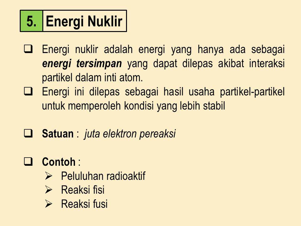 Energi Nuklir5.  Energi nuklir adalah energi yang hanya ada sebagai energi tersimpan yang dapat dilepas akibat interaksi partikel dalam inti atom. 
