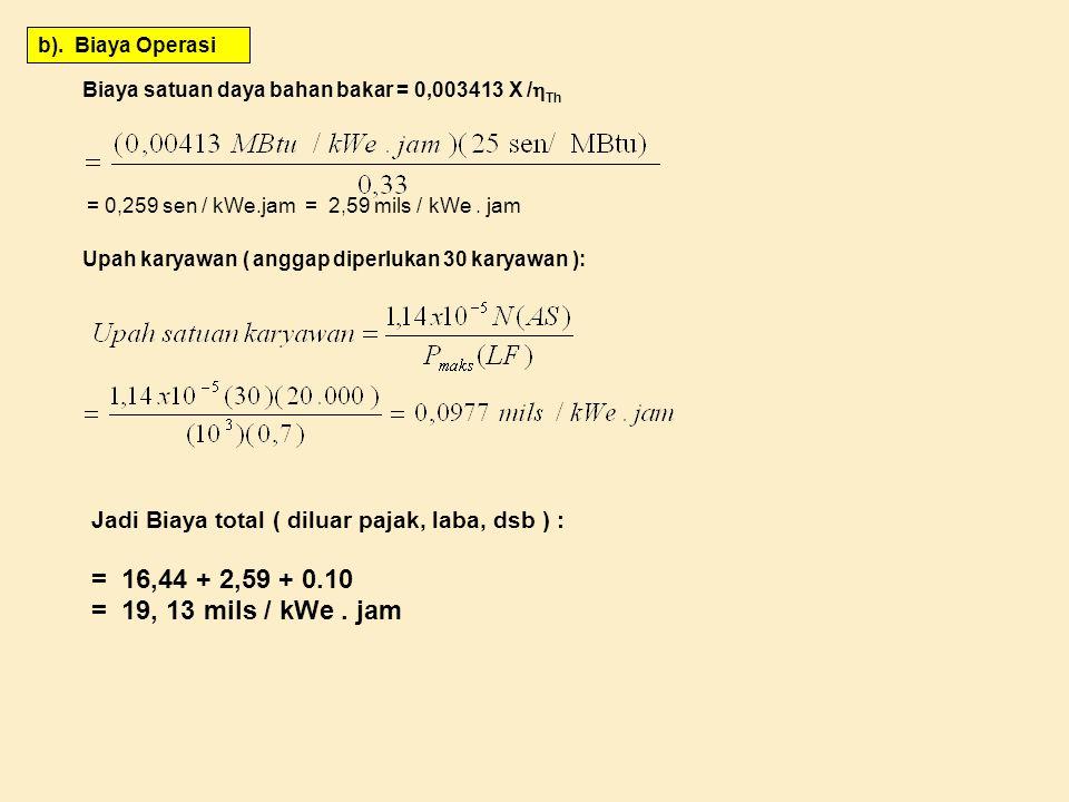 b). Biaya Operasi Biaya satuan daya bahan bakar = 0,003413 X /  Th = 0,259 sen / kWe.jam = 2,59 mils / kWe. jam Upah karyawan ( anggap diperlukan 30