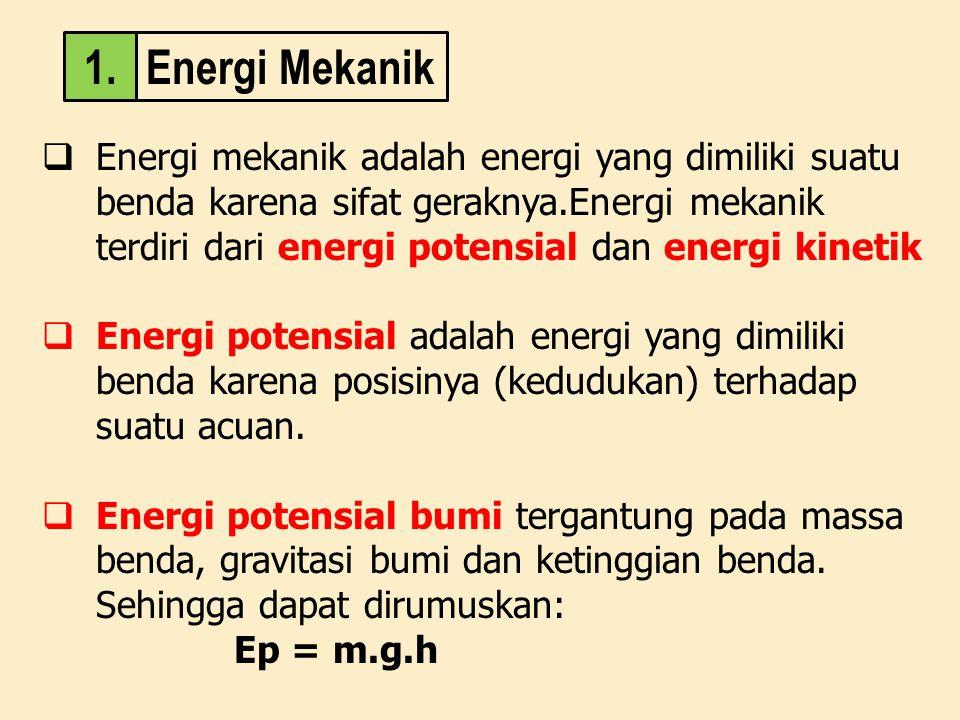  Energi mekanik adalah energi yang dimiliki suatu benda karena sifat geraknya.Energi mekanik terdiri dari energi potensial dan energi kinetik  Energ