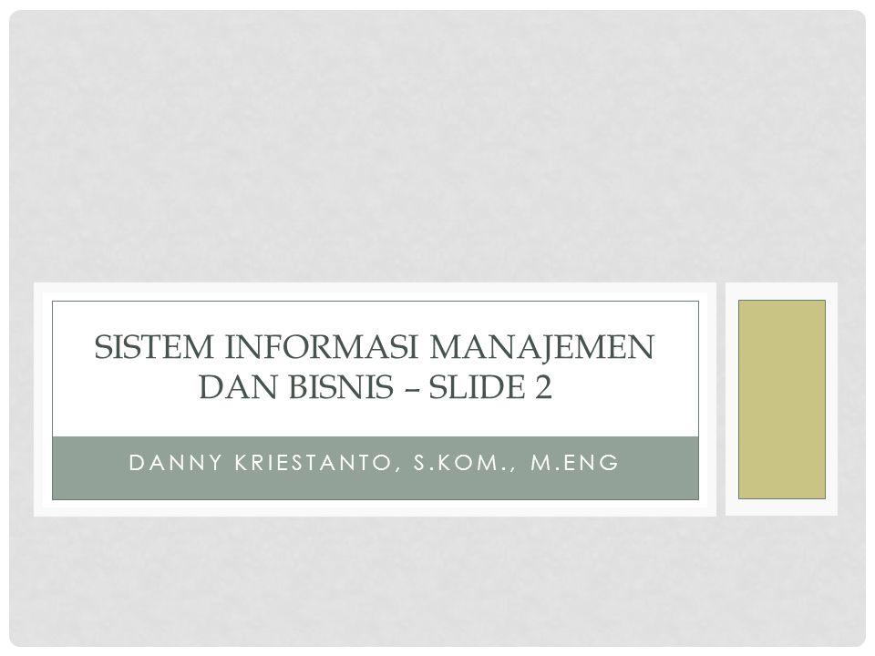 DANNY KRIESTANTO, S.KOM., M.ENG SISTEM INFORMASI MANAJEMEN DAN BISNIS – SLIDE 2