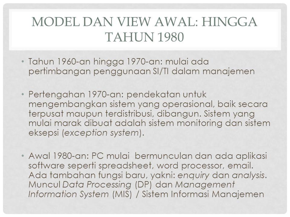 MODEL DAN VIEW AWAL: HINGGA TAHUN 1980 Tahun 1960-an hingga 1970-an: mulai ada pertimbangan penggunaan SI/TI dalam manajemen Pertengahan 1970-an: pend