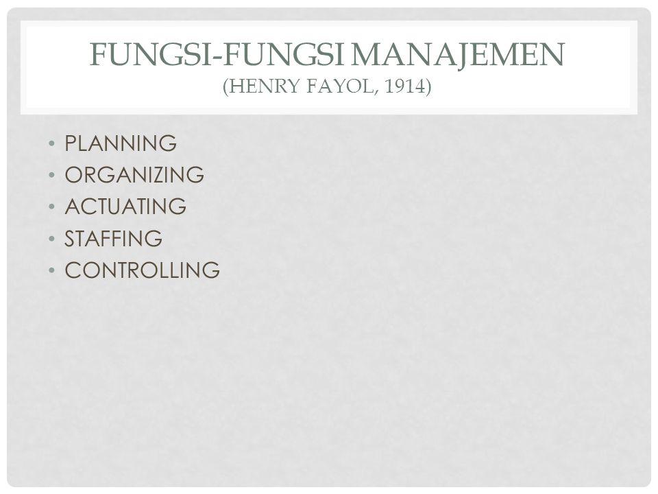 FUNGSI-FUNGSI MANAJEMEN (HENRY FAYOL, 1914) PLANNING ORGANIZING ACTUATING STAFFING CONTROLLING