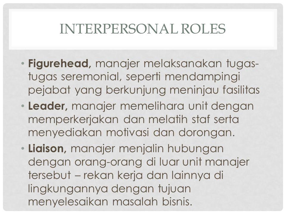 Figurehead, manajer melaksanakan tugas- tugas seremonial, seperti mendampingi pejabat yang berkunjung meninjau fasilitas Leader, manajer memelihara un