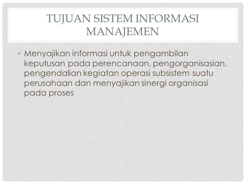 TUJUAN SISTEM INFORMASI MANAJEMEN Menyajikan informasi untuk pengambilan keputusan pada perencanaan, pengorganisasian, pengendalian kegiatan operasi s