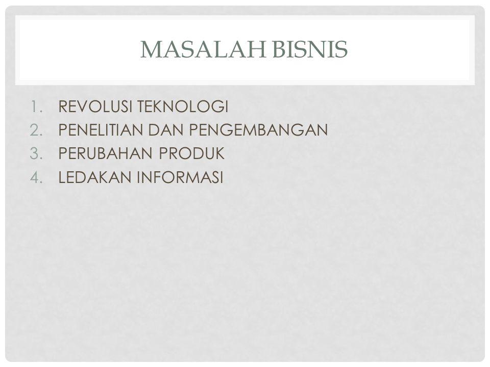 MASALAH BISNIS 1.REVOLUSI TEKNOLOGI 2.PENELITIAN DAN PENGEMBANGAN 3.PERUBAHAN PRODUK 4.LEDAKAN INFORMASI