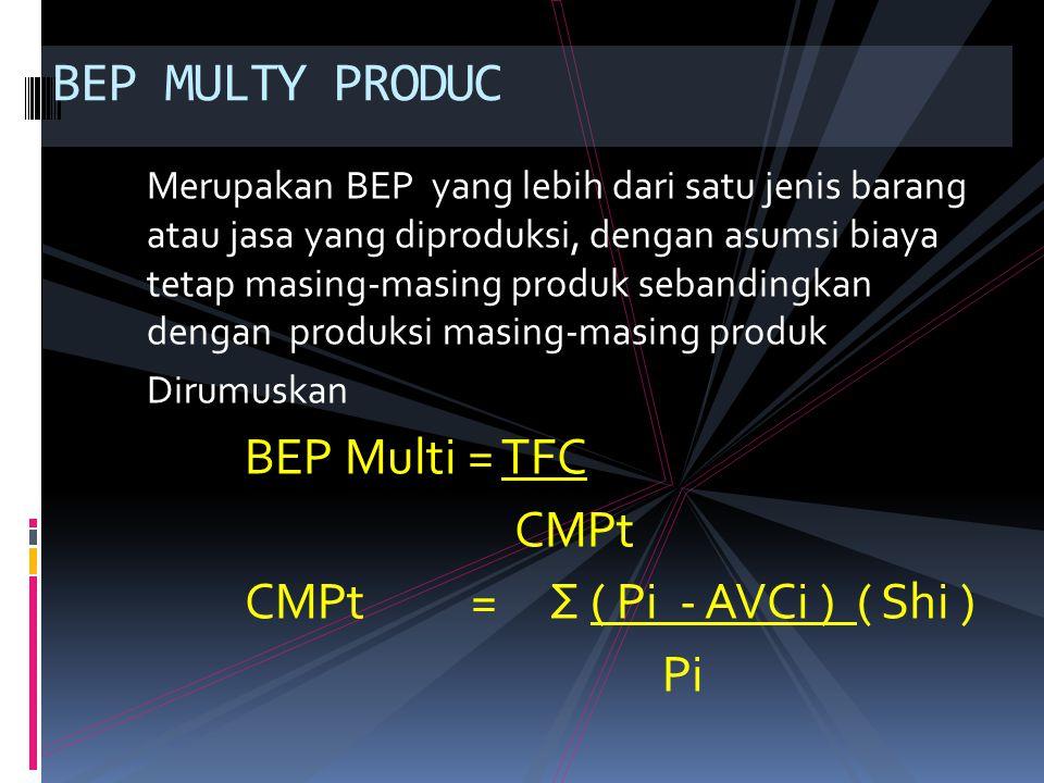 Merupakan BEP yang lebih dari satu jenis barang atau jasa yang diproduksi, dengan asumsi biaya tetap masing-masing produk sebandingkan dengan produksi masing-masing produk Dirumuskan BEP Multi = TFC CMPt CMPt = Σ ( Pi - AVCi ) ( Shi ) Pi BEP MULTY PRODUC