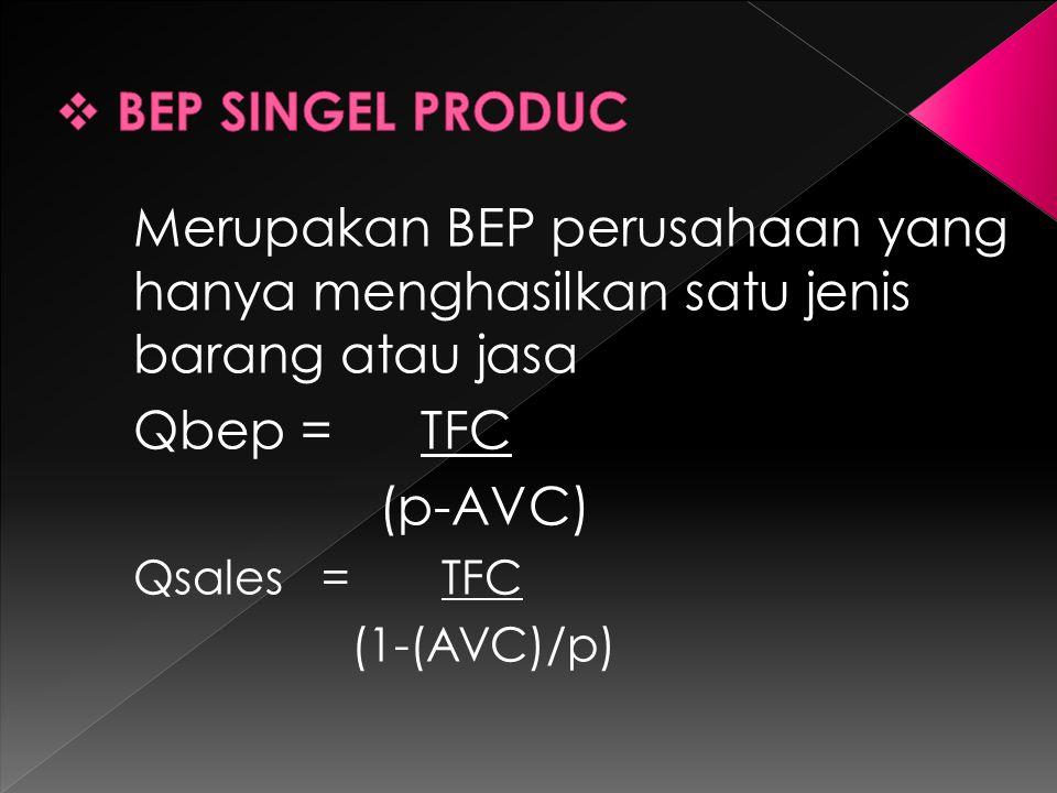 Merupakan BEP perusahaan yang hanya menghasilkan satu jenis barang atau jasa Qbep = TFC (p-AVC) Qsales = TFC (1-(AVC)/p)