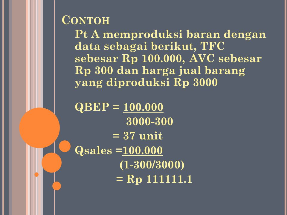 C ONTOH Pt A memproduksi baran dengan data sebagai berikut, TFC sebesar Rp 100.000, AVC sebesar Rp 300 dan harga jual barang yang diproduksi Rp 3000 QBEP = 100.000 3000-300 = 37 unit Qsales =100.000 (1-300/3000) = Rp 111111.1
