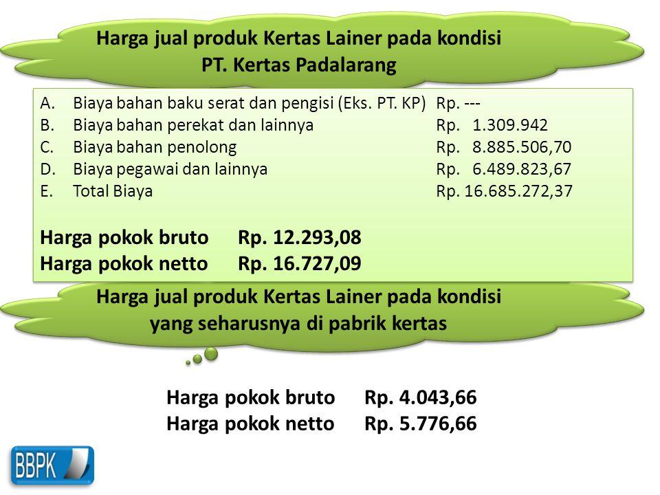 Harga jual produk Kertas Lainer pada kondisi yang seharusnya di pabrik kertas Harga jual produk Kertas Lainer pada kondisi PT. Kertas Padalarang A.Bia