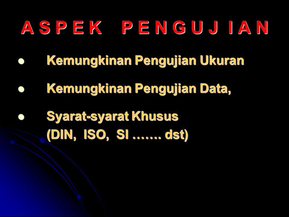 A S P E K P E N G U J I A N Kemungkinan Pengujian Ukuran Kemungkinan Pengujian Ukuran Kemungkinan Pengujian Data, Kemungkinan Pengujian Data, Syarat-syarat Khusus Syarat-syarat Khusus (DIN, ISO, SI …….
