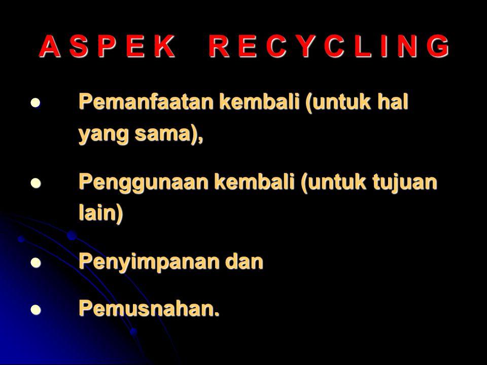 A S P E K R E C Y C L I N G Pemanfaatan kembali (untuk hal Pemanfaatan kembali (untuk hal yang sama), Penggunaan kembali (untuk tujuan Penggunaan kembali (untuk tujuanlain) Penyimpanan dan Penyimpanan dan Pemusnahan.