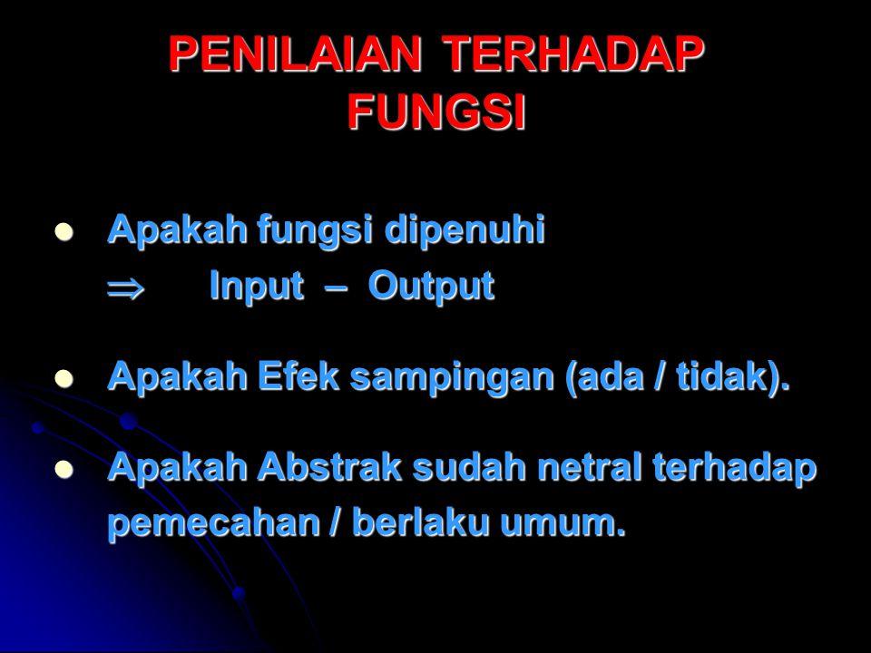 PENILAIAN TERHADAP FUNGSI Apakah fungsi dipenuhi Apakah fungsi dipenuhi  Input – Output  Input – Output Apakah Efek sampingan (ada / tidak).