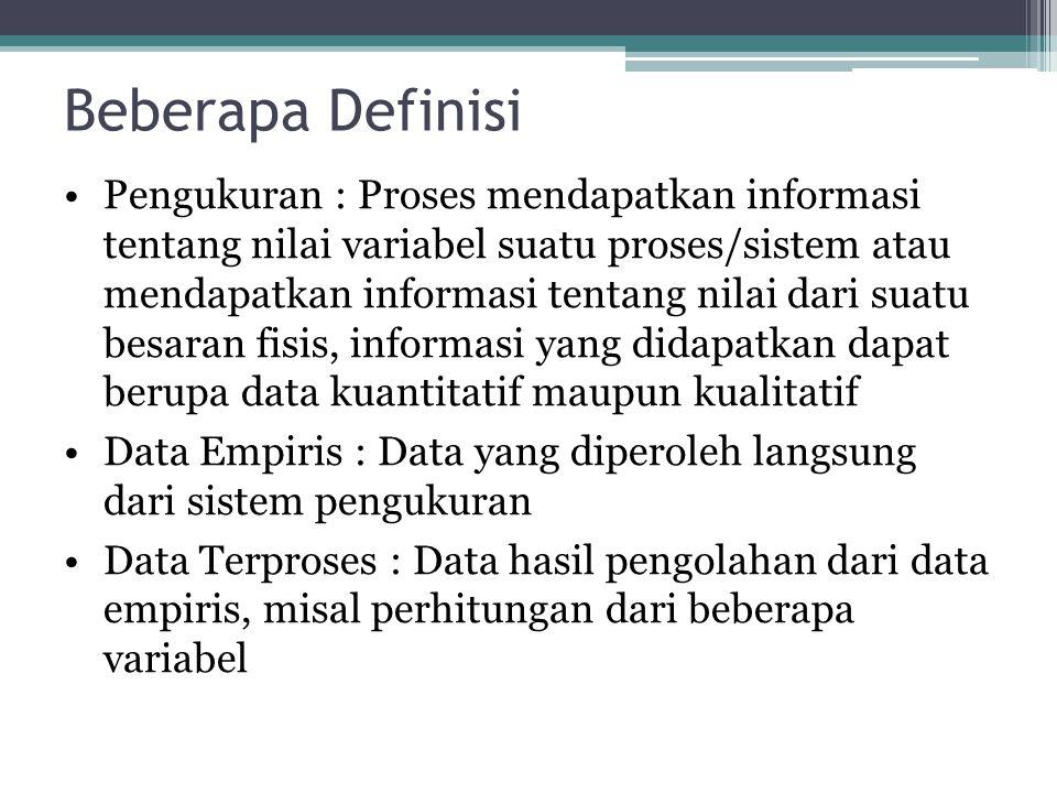 Beberapa Definisi Pengukuran : Proses mendapatkan informasi tentang nilai variabel suatu proses/sistem atau mendapatkan informasi tentang nilai dari s