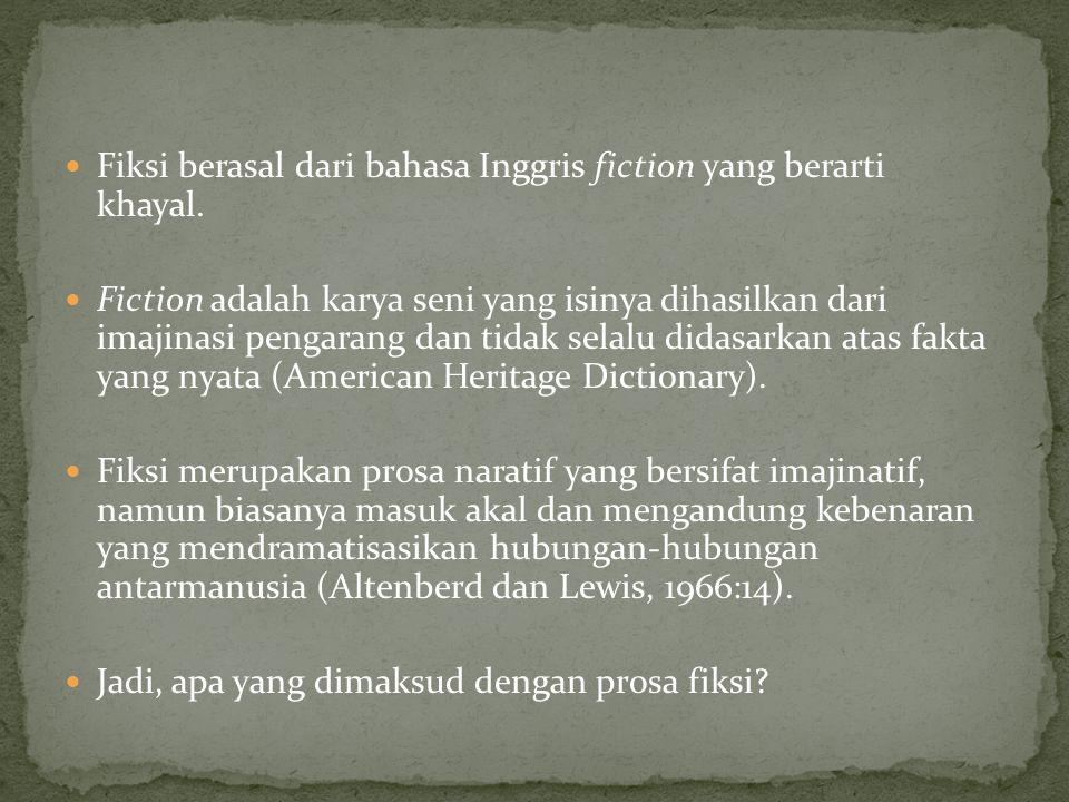 Fiksi berasal dari bahasa Inggris fiction yang berarti khayal. Fiction adalah karya seni yang isinya dihasilkan dari imajinasi pengarang dan tidak sel